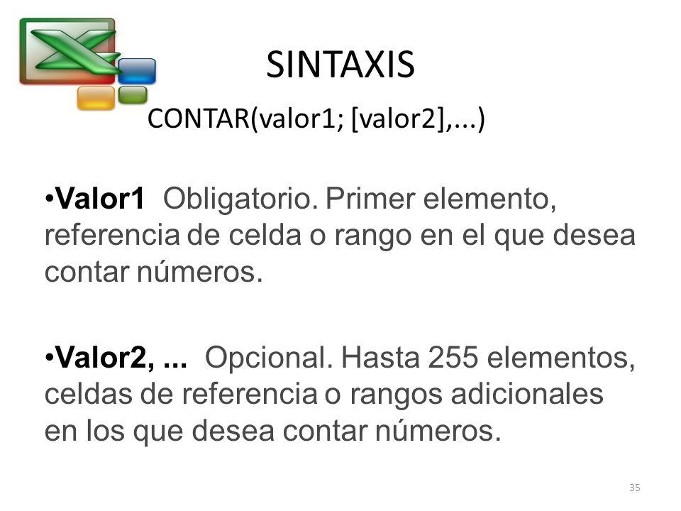 SINTAXIS CONTAR(valor1; [valor2],...)